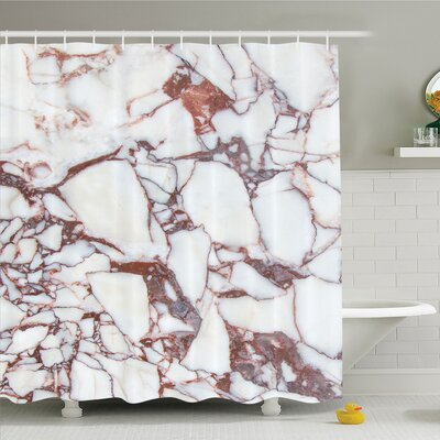 Dolomite Rocks with Characteristic Swirls and Cracked Lines Shower Curtain Set Size: 75 H x 69 W