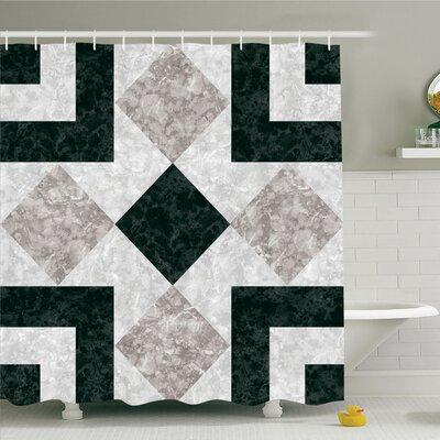 Nostalgic Marble Stone Mosaic Design with Alluring Elements Image Shower Curtain Set Size: 70 H x 69 W