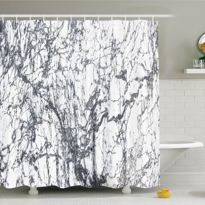 Murky Marble Rock Motifs with Dynamic Fractal Figures Abstract Artsy Shower Curtain Set Size: 84 H x 69 W