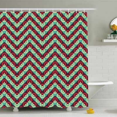 Geometric Circle 50s Pop Art Triangular Stripes and Spiral Hoops Retro Poster Shower Curtain Set Size: 84 H x 69 W