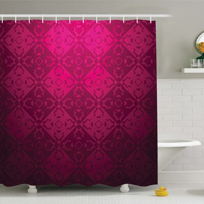 Ornamental Dated Rectangular Forms Background Damask Past Design Shower Curtain Set Size: 84 H x 69 W