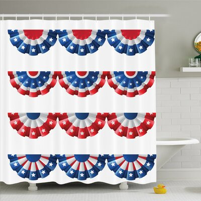 Round Bunting Election Ornament Politic Union Ribbon Event Shower Curtain Set Size: 70 H x 69 W