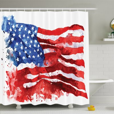 American Flag National Paint Brush Watercolor Digital Stroke Messy Graffiti Artsy Decor Shower Curtain Set Size: 84 H x 69 W