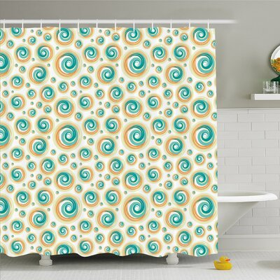 Geometric Circle Rotary Spiral Hazy Shower Curtain Set Size: 84 H x 69 W