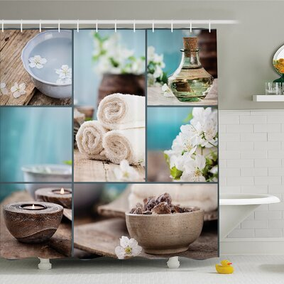 Spa Far East Close to Your Heart Asian Massage Collage Oils Candles Flowers Shower Curtain Set Size: 75 H x 69 W