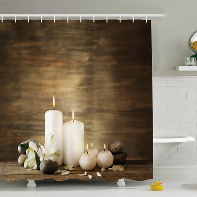 Spa Composition of Pure Candles Wooden Background with Stones and Flower Petals Shower Curtain Set Size: 75 H x 69 W