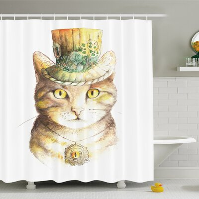 Cat Spiritual with Hat and Occult Eye Collar Grunge Celtic Trick Shower Curtain Set Size: 75 H x 69 W