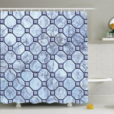 Retro Marble Tiled Spiral and Round Circular Bound Tied Shapes Design Shower Curtain Set Size: 70 H x 69 W