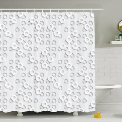 Geometric Circle Dispersed Ring Motifs Structural Circuit Bands Western Layout Artwork Shower Curtain Set Size: 75 H x 69 W