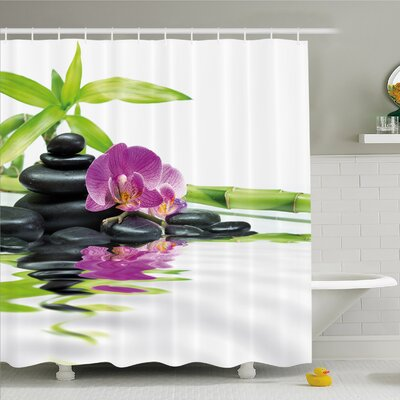 Spa Asian Relaxation with Zen Massage Stones Orchid and Bamboo Shower Curtain Set Size: 70 H x 69 W