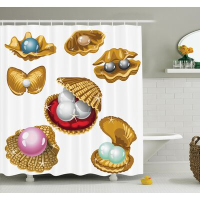 Gold Shell Gleams Art Shower Curtain Set Size: 70 H x 69 W