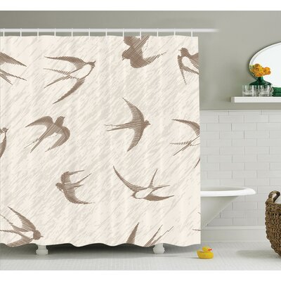 Nathanael Flying Birds Shower Curtain Set Size: 70 H x 69 W