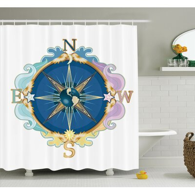 Wind Rose Travel Art Shower Curtain Set Size: 70 H x 69 W