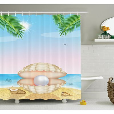 Shell on Beach Shower Curtain Set Size: 70 H x 69 W