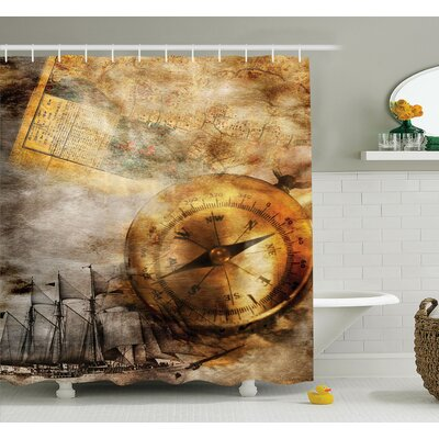 Compass Old Paper Ship Shower Curtain Set Size: 84 H x 69 W