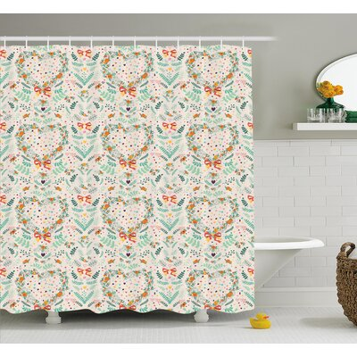 Vintage Country Style Kitsch Ornaments with Heart Flowers Ribbon Illustration Shower Curtain Set Size: 84 H x 69 W