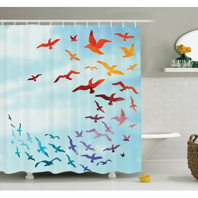 Carylon Bird Flying Freedom Sky Art Shower Curtain Set Size: 75 H x 69 W
