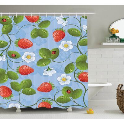 Floral Strawberry Daisy Retro Shower Curtain Set Size: 75 H x 69 W