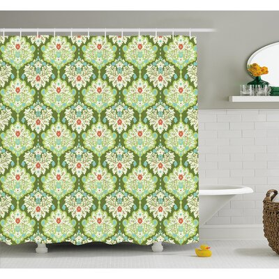 Victorian Style Baroque Floral Figures Rococo Inspired Flourish Design Artprint Shower Curtain Set Size: 84 H x 69 W