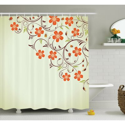 Floral Ladybugs Flowers Spring Shower Curtain Set Size: 84 H x 69 W