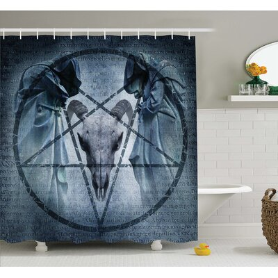 Horror House Artwork with Pentagram Icon Goat Skull Devil Dream Hoody Figure Exorcist Image Shower Curtain Set Size: 84 H x 69 W