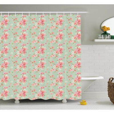 Retro Spring Blossom Flowers with French Garden Florets Garland Artisan Image Shower Curtain Set Size: 70 H x 69 W