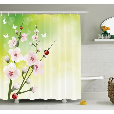 Floral Blossom Ladybugs Spring Shower Curtain Set Size: 75 H x 69 W