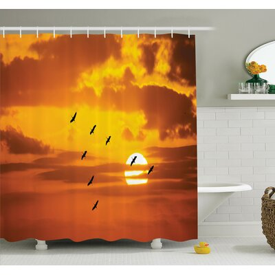 Leisha Birds Flying at Sunset Shower Curtain Set Size: 84 H x 69 W