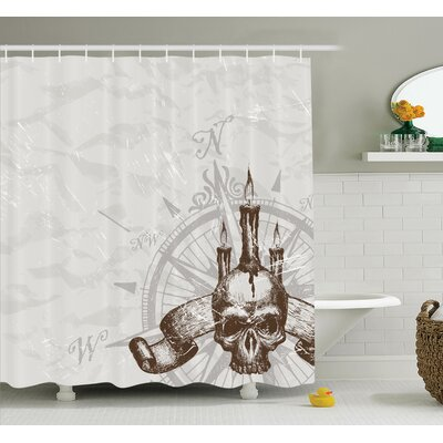 Compass Piracy Skull Shower Curtain Set Size: 70 H x 69 W