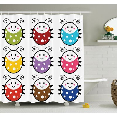 Lizbeth Cute Smiling Ladybugs Shower Curtain Set Size: 70
