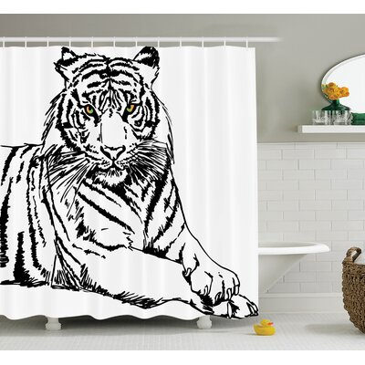 Animal Sketch of Tiger Shower Curtain Set Size: 75 H x 69 W