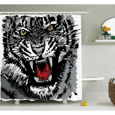 Animal Roaring Tiger Art Shower Curtain Set Size: 84 H x 69 W