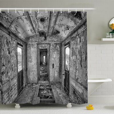 Rustic Home Interior of an Antique Aged Railway Wagon Burnt Destruction Picture Shower Curtain Set Size: 70 H x 69 W
