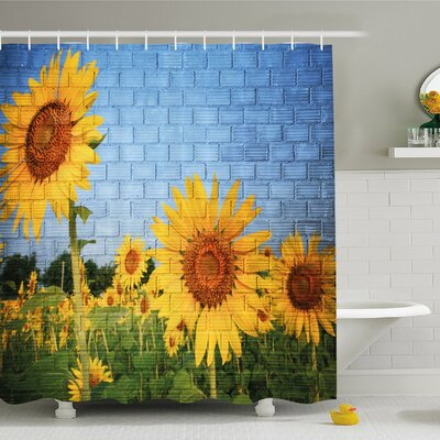 Rustic Home Sunflowers on Wall Peaceful Habitat Meadow Valley in Rural Village Shower Curtain Set Size: 84 H x 69 W