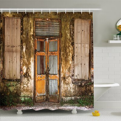 Rustic Home Damaged Shabby House with Boarded Up Rusty Doors and Mold Windows Home Decor Shower Curtain Set Size: 70 H x 69 W