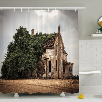 Rustic Home Ancient Historical House with Overgrown Oregon Ivy on Roof Field Image Shower Curtain Set Size: 70 H x 69 W