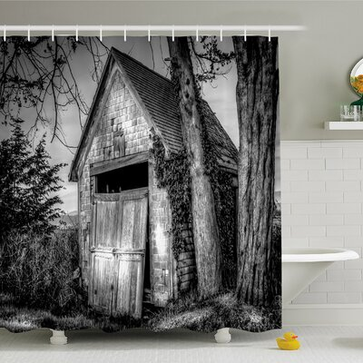 Rustic Home Old Ruined Stranded Stone Barn Farmhouse Rural Countryside Shower Curtain Set Size: 84 H x 69 W