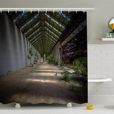Rustic Home Industrial Interior with Light Structure Angle and Plants Metal Urban Shower Curtain Set Size: 84 H x 69 W