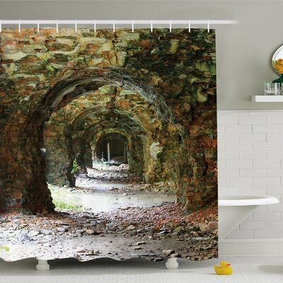 Rustic Home Ruins of Arched Medieval Period Brick Tunnel Architecture Heritage Design Shower Curtain Set Size: 70 H x 69 W