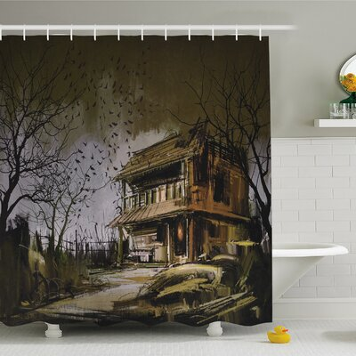 Rustic Home Old Haunted Abandoned Wood House at Dark Night with Bats Scary Horror Shower Curtain Set Size: 70 H x 69 W