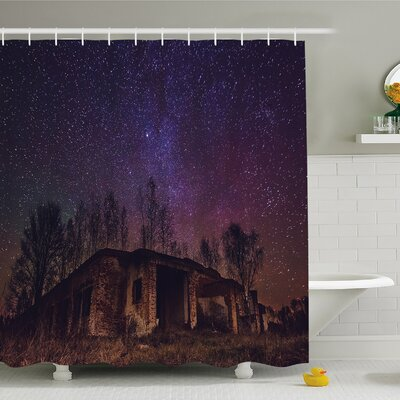 Rustic Home Underground View of Rock Building with Star Sky Cosmos Galaxy Shower Curtain Set Size: 84 H x 69 W