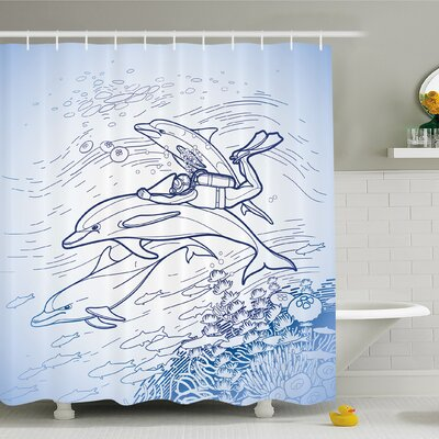 Sea Animals Scuba Diver Holding Fin of Dolphin over Coral Reefs Fish Underwater Shower Curtain Set Size: 75 H x 69 W