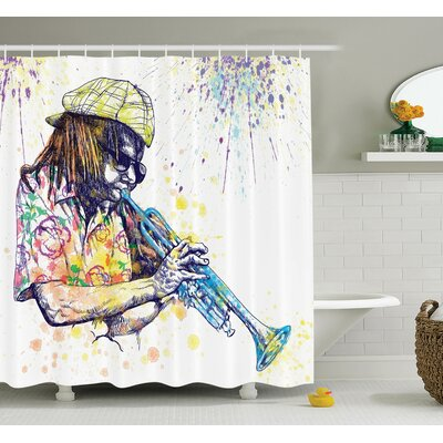 Music Afro Grunge Splash Art Shower Curtain Set Size: 84 H x 69 W
