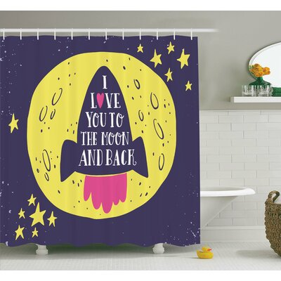 I Love You To The Moon Shower Curtain Set Size: 84 H x 69 W