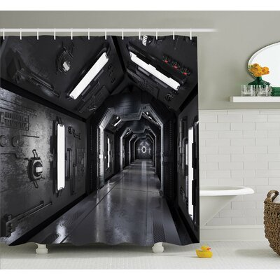 Outer Space Dark Futuristic Corridor of Spaceship Adventure Technology Sci-Fi Art Prints Shower Curtain Set Size: 75 H x 69 W