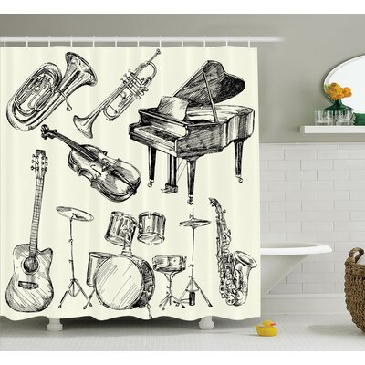 Musical Instruments Shower Curtain Set Size: 75 H x 69 W