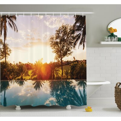 Tropical Swimming Pool Sunset Shower Curtain Set Size: 84 H x 69 W