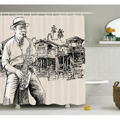 Music Jazz Saxophonist Sketch Shower Curtain Set Size: 75 H x 69 W