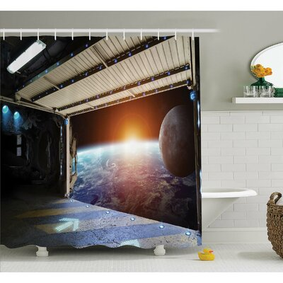 Outer Space Earth Scene from a Space Plane Runway Gate Globe Galaxy Up to Stars Picture Shower Curtain Set Size: 84 H x 69 W