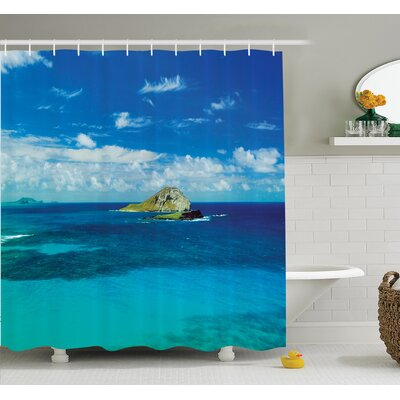 Tropical Hawaiian Island Beach Shower Curtain Set Size: 84 H x 69 W